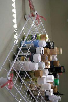 Cool paint storage idea.