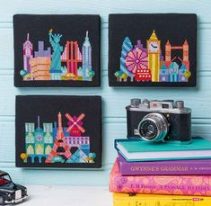 Satsuma Street - modern cross stitch skyline pattern - London, NYC & Paris