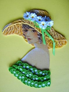 Quilling portraits by Latvian Artist Eugenia Evseeva, who uses pictures for the face and body, then quills colored paper for the hair, clothes, flowers, jewellery and hats.