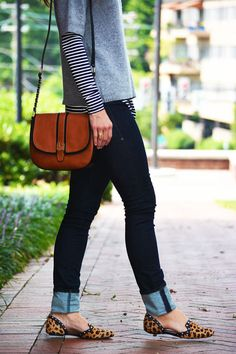 layered stripes / denim / leopard
