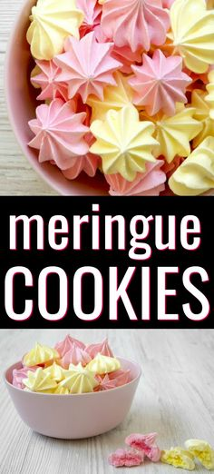 This easy meringue cookies recipe uses only 5 ingredients and is so delicious. These egg white cookies are perfect for parties, holidays, and celebrations. Egg White Dessert, White Desserts, French Desserts, Holiday Desserts, Fun Desserts, Holiday Cookies, Easy Meringue Cookies, Meringue Cookie Recipe, Best Cookie Recipes
