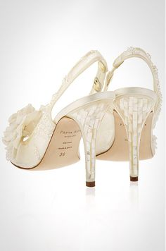 The Yukka - Couture slingback wedding shoe by Freya Rose showcases French chantilly lace, crystals and a luxe silk flower.