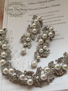 Bridal jewelry set Bridal earrings bridal bracelet Wedding