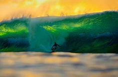 Gorgeous green wave and golden sunset!