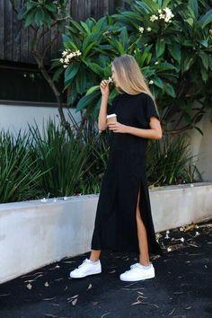 Side High Slit Short Sleeves Black Long T-Shirt Women Dress