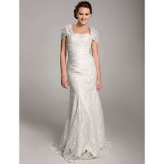 Trumpet / Mermaid Floor-length Lace Wedding Dress With Wrap – GBP £ 89.08