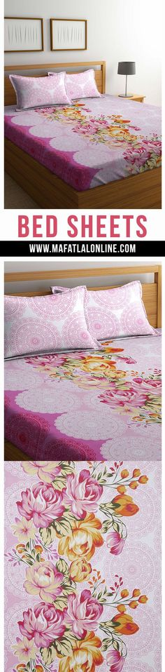 Mafatlal Pink Color Cotton 144 TC Double Bed Sheet With Pillow Covers #homefurnishing #cottonbedsheets #bedlinen #homedecor #pillowcovers #homegoals #doublebedsheets #online #buy #shop