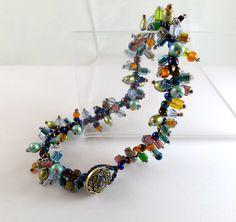Colorful Beaded bracelet for the large wrist 9 1/2 by TobysArtwear