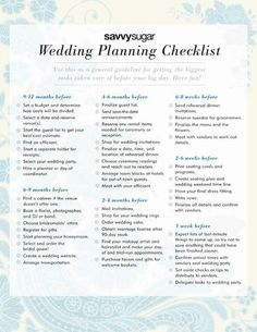 Note: for when my sister goes mad due to her lack of organisation during the planning of her wedding