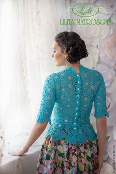 """Купить """"Весенние грёзы"""" - бирюзовый, вязаная блузка, вязаная кофточка, кружевная блузка, кружевная кофточка"""