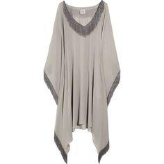 Babajaan Maite silk-georgette kaftan ($205) ❤ liked on Polyvore featuring tops, tunics, dresses, shirts, kaftan, sweaters, loose shirts, drape shirt, fringe shirts and transparent shirt