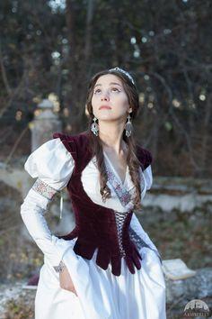 "DISCOUNTED PRICE! Medieval dress and vest ""Found Princess""; italian cotton dress; wedding dress"