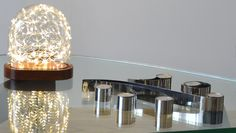 The Galaxy Dome makes a perfect table light or centrepiece Glass Bell Jar, The Bell Jar, Glass Vessel, Glass Domes, Candelabra, Candlesticks, Light Decorations, Table Decorations, Starry String Lights