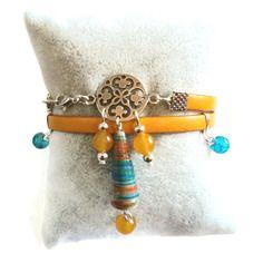 Bracelet double rang cuir jaune - ethnique boheme - perles en papier artisanales - perles en verre perles en pierre naturelles