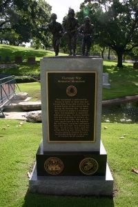 Vietnam Memorial  The Texas State Cemetery honored all Texas veterans of the Vietnam War by unveiling a new monument on its grounds on April 19, 2008. The monument, the first honoring Vietnam veterans at the Cemetery, features grey and black granite and a bronze sculpture on top. The monument joins those dedicated to World War II veterans, Purple Heart recipients, Medal of Honor recipients and others. The monument honors all branches of service who served during the Vietnam era.  Read more.