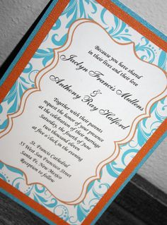 Items Similar To Turquoise Orange Bracket Wedding Invitation On Etsy