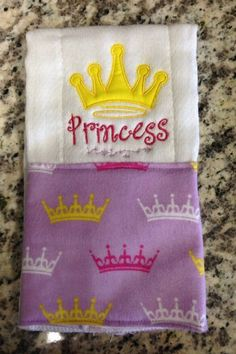 A personal favorite from my Etsy shop https://www.etsy.com/listing/235105428/princess-burp-cloth-princess-crown-burp