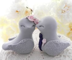 Love Birds Wedding Cake Topper Light Grey Blush Pink by LavaGifts