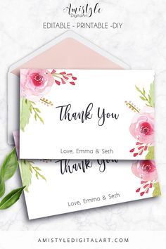 Thank You Card Roses Editable PDF Thank You Card Printable