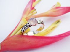 Pink Chalcedony Floral Ring Wide band silver by SaruchiRJewellery