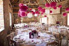 Magenta Pom Poms + Heart Garlands English Rose Wedding | Whimsical Wonderland Weddings