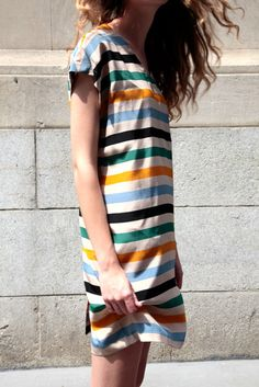 No. 6 striped button back dress
