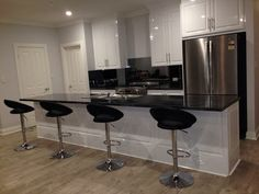 Gloss white cabinets Black Amore Laminate White Cabinets, Kitchen, Table, Furniture, Black, Home Decor, White Dressers, Cooking, Decoration Home