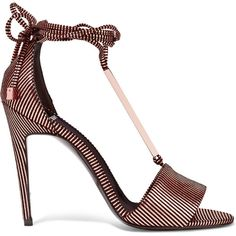 Pierre Hardy Blondie metallic striped leather sandals ($760) ❤ liked on Polyvore featuring shoes, sandals, heels, bronze, tie shoes, pierre hardy sandals, metallic sandals, black high heel sandals and black leather shoes