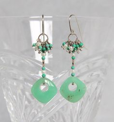 Chrysoprase Drop Pearl Amazonite Cluster Dangle Earrings, Sterling Silver Wire Wrap Handmade Gem Bead Jewelry Unique Statement Seafoam Green by AdornmentsAndFrills on Etsy