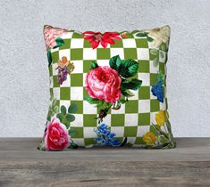 Pillow Cover, Checkerboard, Vintage Flowers, Olive Green and White, Leaves, Accent Throw Pillow, Large Sofa Cushion, Upholstery Velveteen