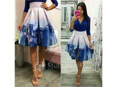 1447c5fee9b7 Fialová krátka sukňa s mrakodrapmi - Mia Dresses