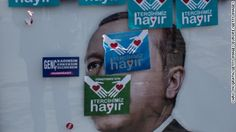"""ISTANBUL, TURKEY - APRIL 15: """"Hayir"""" (No) stickers are seen placed over an """"Evet""""(Yes) poster showing the portrait of Turkish President Recep Tayyip Erdogan on April 15, 2017 in Istanbul, Turkey. Campaigning by both the """"Evet""""(Yes) and """"Hayir"""" (No) camps has intensified across the country in the final day ahead of Turkey holding a constitutional referendum on April 16, 2017. Turks will vote on 18 proposed amendments to the Constitution of Turkey. The c..."""