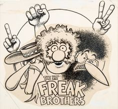 Original Comic Art:Illustrations, Gilbert Shelton Fabulous Furry Freak Brothers T-ShirtIllustration Original Art (c. 1970s)....