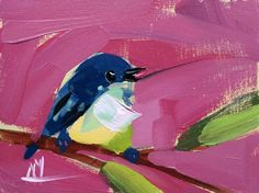 Cerulean Warbler no. 62 Original Bird Oil Painting by Angela Moulton pre-order