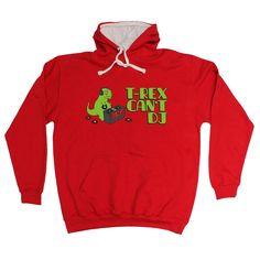 123t USA T-Rex Can't DJ Funny Hoodie