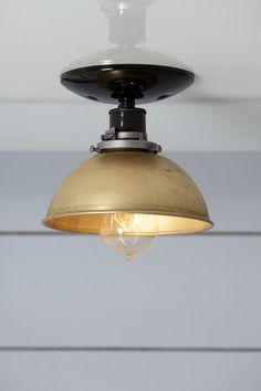 Brass Metal Shade Ceiling Mount Light with    -Black or White Ceramic Socket (250V Max)  -Black or White Ceiling Canopy