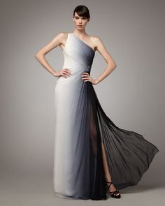 ShopStyle: Monique Lhuillier One-Shoulder Ombre Gown