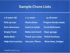 A sample chore list