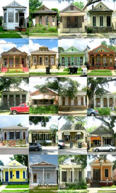 """Twenty shotgun houses in Mid-City, the Garden District, Freret, Uptown, and Central City. image and article via the """"Trout Fischin"""" blog"""