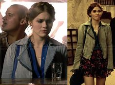 Lydia's blue contrast trim top, denim jacket and floral skirt on Teen Wolf. Outfit Details: http://wornontv.net/33995/ #TeenWolf