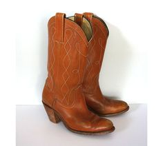 Vintage FRYE Women's Brown Leather Tall Boots Boots by Felonwood