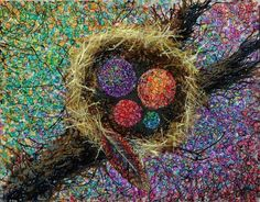 Bird Nest Colorful Abstract Painting Giclee Art Print by sarahmerrill on Etsy https://www.etsy.com/listing/57341209/bird-nest-colorful-abstract-painting