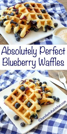 Blueberry Waffles with Vanilla Waffle Sauce is a breakfast that NO ONE can resist! get the recipe at barefeetinthekitc… Blueberry Waffles with Vanilla Waffle Sauce is a breakfast that NO ONE can resist! get the recipe at barefeetinthekitc… Banana Waffles, Blueberry Waffles, Breakfast Waffles, Blueberry Recipes, Breakfast Dishes, Mexican Breakfast, Pancakes, Breakfast Waffle Recipes, Blueberry Crisp