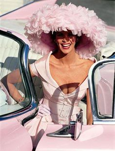 la-la-la-bonne-vie:  There are so many reasons to be Happy! Love the car, the outfit, that hat and the model is gorgeous!