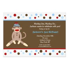 Sock Monkey Birthday Party Invitations Boy Kids polka dots