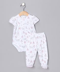 babycottons White & Pink Holland Bodysuit & Footie Pants - Infant | zulily