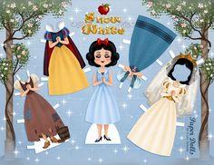 Schneewittchen (Disney) Papierfigur mit Kleidern zum Ausschneiden