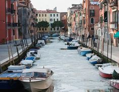 Iced over canals in Venice.