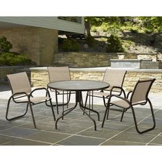 Outdoor Telescope Casual Gardenella Sling Patio Dining Set with Glass Top Table - Seats 4 Bailey