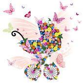 Kočárek květin a motýlů — Stock vektor